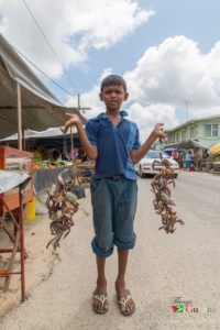 Lad selling crabs at the Mahaica Market.