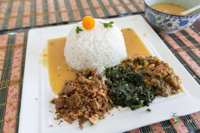 Dhall, Rice, Callaloo, Curried Shrimp & Smoked Herring Choka